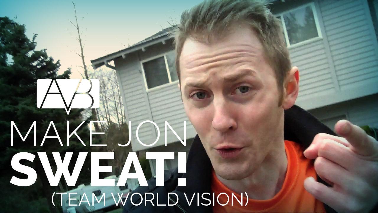 Jon running outside wearing a bright orange shirt