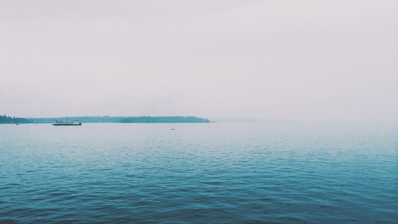A foggy ocean horizon