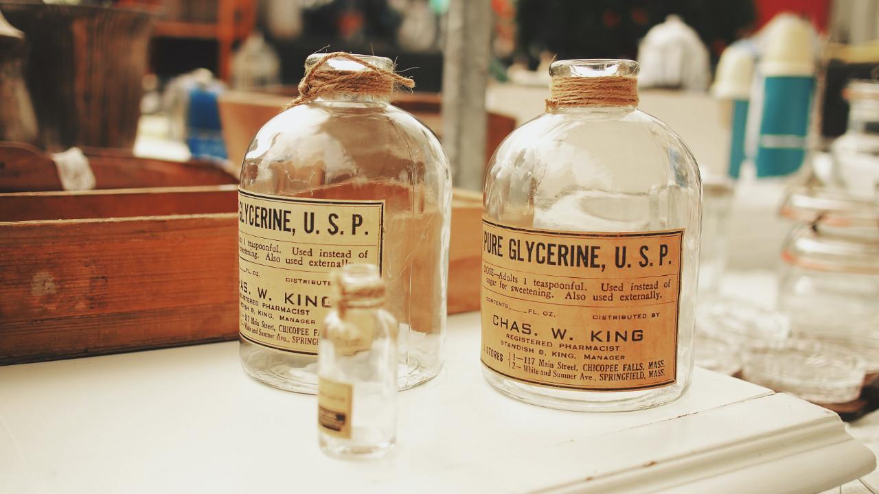 Old empty medicine bottles