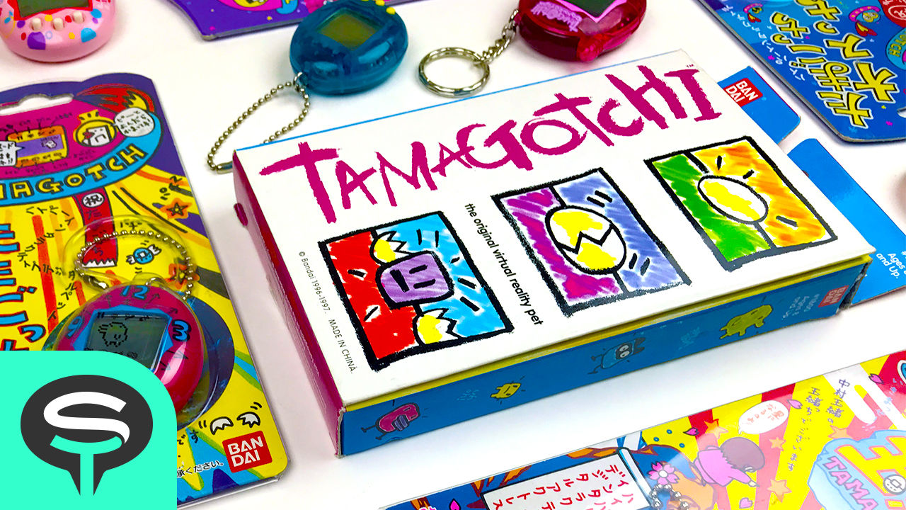 A variety of colorful Tamagotchi toys